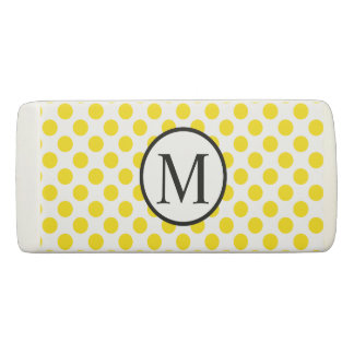 Simple Monogram with Yellow Polka Dots Eraser