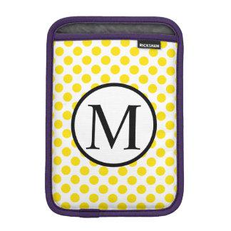 Simple Monogram with Yellow Polka Dots iPad Mini Sleeve
