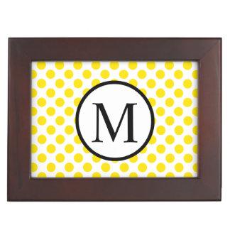 Simple Monogram with Yellow Polka Dots Keepsake Box