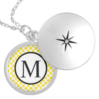 Simple Monogram with Yellow Polka Dots Locket Necklace