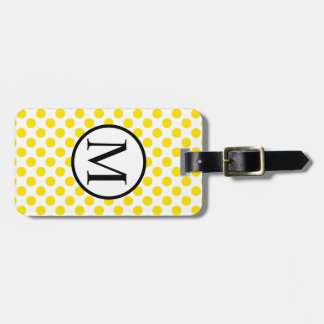 Simple Monogram with Yellow Polka Dots Luggage Tag