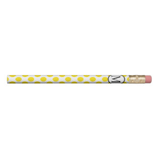 Simple Monogram with Yellow Polka Dots Pencil