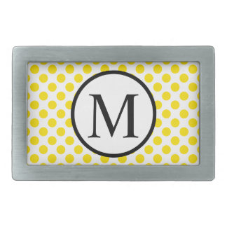 Simple Monogram with Yellow Polka Dots Rectangular Belt Buckle