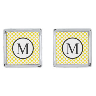 Simple Monogram with Yellow Polka Dots Silver Finish Cuff Links