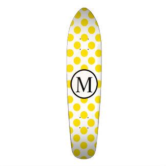 Simple Monogram with Yellow Polka Dots Skate Board Decks