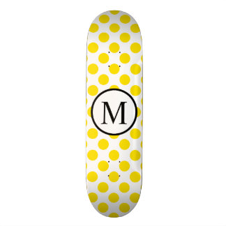 Simple Monogram with Yellow Polka Dots Skateboards