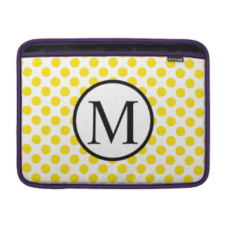 Simple Monogram with Yellow Polka Dots Sleeve For MacBook Air