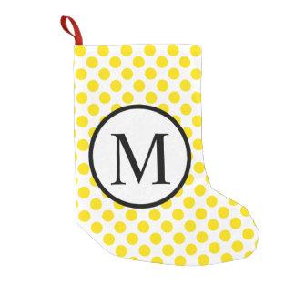 Simple Monogram with Yellow Polka Dots Small Christmas Stocking