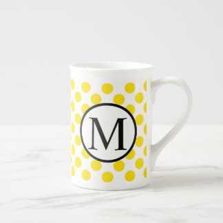 Simple Monogram with Yellow Polka Dots Tea Cup