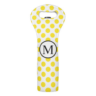 Simple Monogram with Yellow Polka Dots Wine Bag