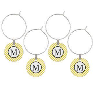 Simple Monogram with Yellow Polka Dots Wine Charm