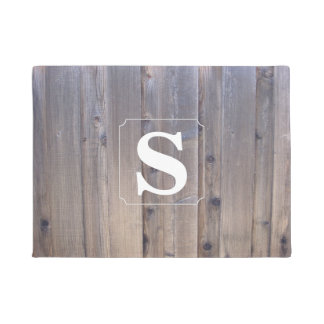 Simple Monogram Wood Doormat
