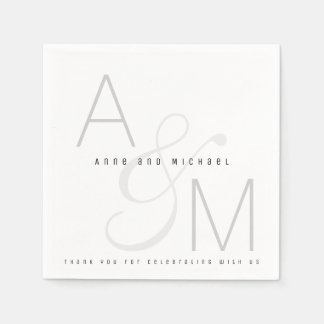 simple monogrammed wedding reception party paper napkins
