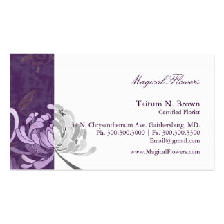 Simple Monotone Flower Personal Business Cards