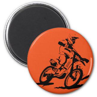 Simple Motorcross Bike and Rider 6 Cm Round Magnet