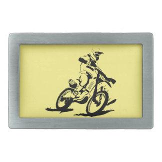 Simple Motorcross Bike and Rider Rectangular Belt Buckle