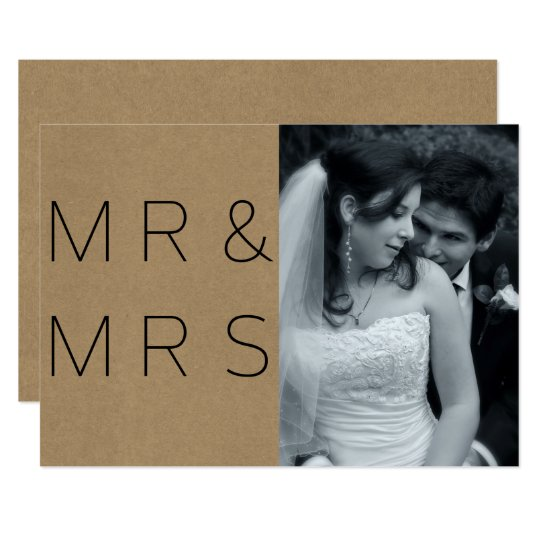 Simple Mr & Mrs Photo Typography Announcement
