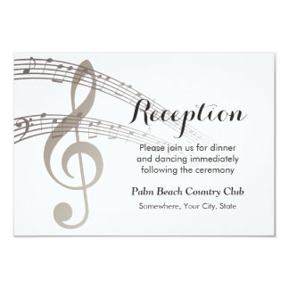 Simple Music Notes Musical Wedding Reception Card
