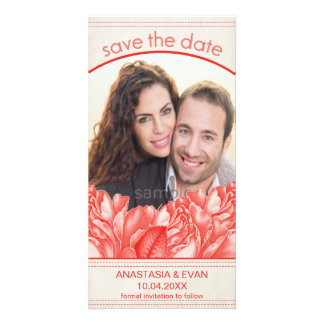 Simple Natural Botanical Red Rose Save the Date Photo Card