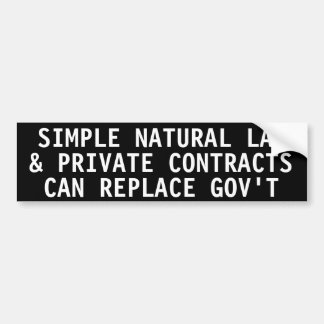 Simple natural law private contracts bumper stickers