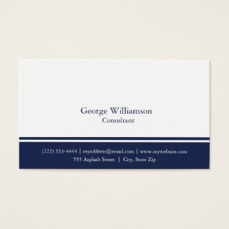 Simple Nautical Navy Blue and White Business Card
