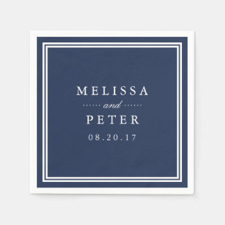 Simple Navy and White Wedding Paper Serviettes