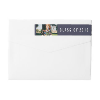 Simple Navy Blue Class Of 2016 Graduate Photo Wrap Around Label