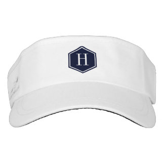 Simple Navy-Blue Octagon With Monogram Visor