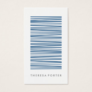 Simple navy blue paint stripe pattern professional business card