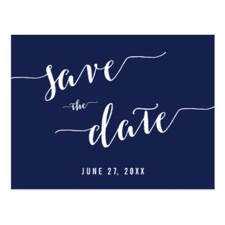 Simple Navy Blue Save The Date Postcards