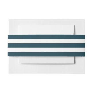 Simple Navy Blue Stripes Invitation Belly Band