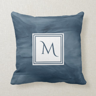 Simple Navy Blue Subtle Marble Modern Monogram Cushion