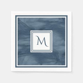 Simple Navy Blue Subtle Marble Modern Monogram Paper Napkins