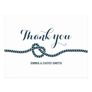Simple Navy Blue Tying the Knot Thank You Post Card