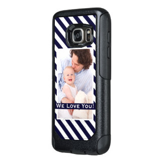 Simple Navy Stripes & Photo w/Custom Text OtterBox Samsung Galaxy S7 Case