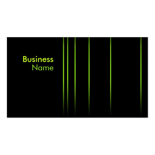 Simple Neon Vertical Lines Business Card (black)
