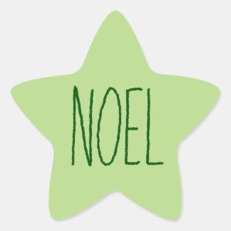 """Simple One Word """"Noel"""" Christmas Greeting Star Sticker"""