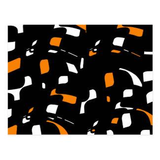 Simple orange, black and white design postcard