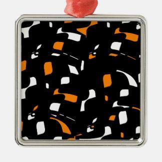 Simple orange, black and white design Silver-Colored square decoration