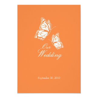 Simple Orange Butterflies Wedding Announcement 2