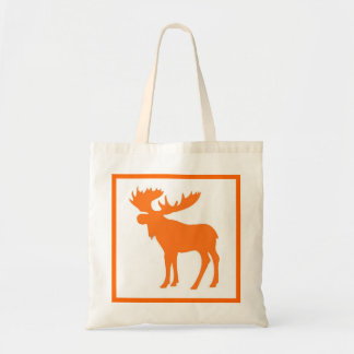 Simple orange moose reusable grocery bag