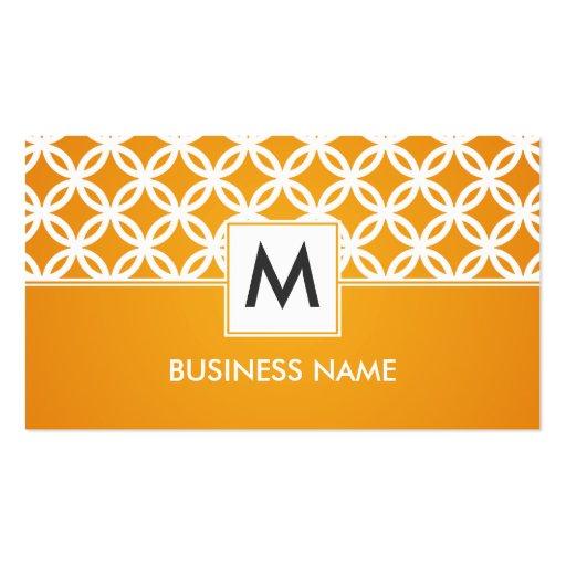 Simple Overlapping Circles Pattern Monogram Orange Business Cards