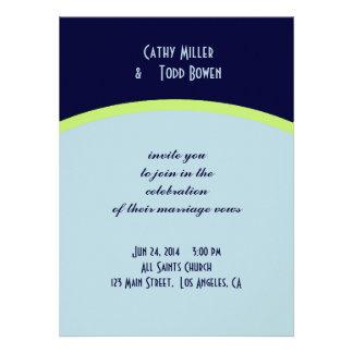 Simple pale blue and lemon-lime wedding custom invitation