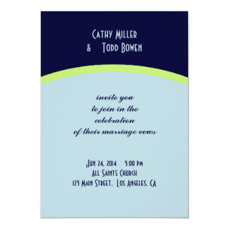 Simple pale blue and lemon-lime wedding personalized invitation