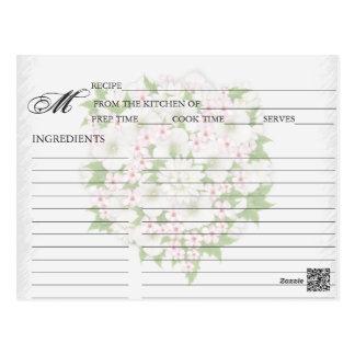 Simple Pale Pink Flower Bouquet Recipe Cards Postcard