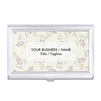 Simple pastel purple vintage botanical floral business card holder