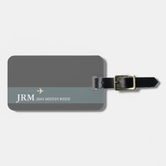 simple, personalized elegant gray bag travel luggage tag