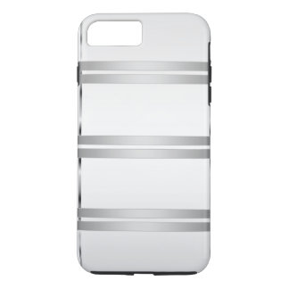 Simple Personalized Grey with Silver Lines iPhone 7 Plus Case
