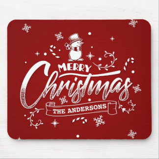 Simple Personalized Snowman Christmas | Mousepad