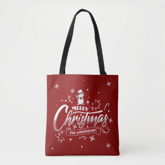 Simple Personalized Snowman Christmas Tote Bag
